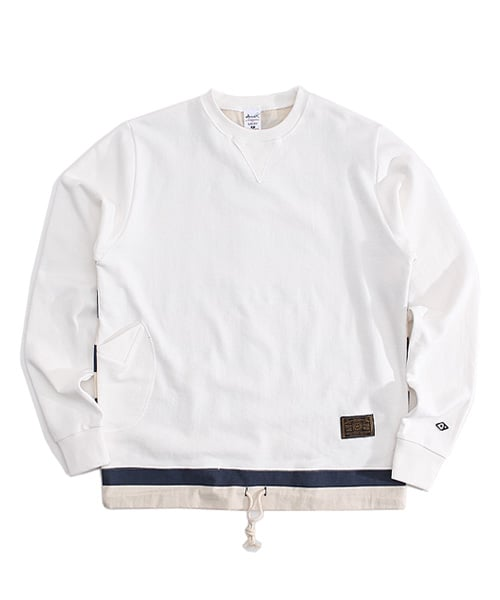 어커버_stripe crewneck White