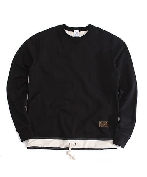 어커버_stripe crewneck Black