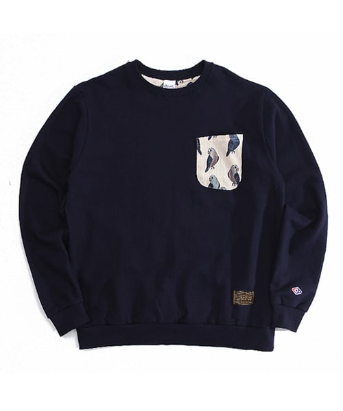 어커버_Parrot pocket crewneck Navy