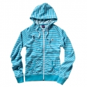 엔조이(ENJOI) [enjoi] WOMENS PANDA PATCH STRIPE CUSTOM ZIP HOOD (Turquoise)