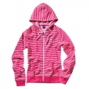 [enjoi] WOMENS PANDA PATCH STRIPE CUSTOM ZIP HOOD (Magenta)