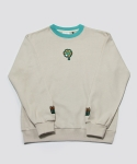 RE-CHILD EMBROIDERY SWEAT SHIRT MINT BEIGE