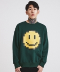 마치위드(MARCHWITH) PIXEL SMILE SWEATSHIRT DARK GREEN