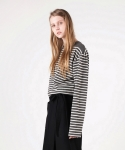 모한(MOHAN) [MOHAN] BOAT NECK STRIPED T-SHIRT CHARCOAL