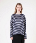 모한(MOHAN) [MOHAN] BOAT NECK STRIPED T-SHIRT NAVY