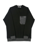 콰이트(QUITE) [콰이트] Pocket Fleece Sweatshirt (Black)