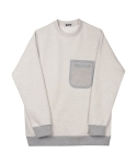 콰이트(QUITE) [콰이트] Pocket Fleece Sweatshirt (Grey)