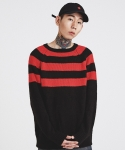 마치위드(MARCHWITH) HALF STRIPE KNIT BLACK