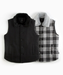 언티지() UTO-FV01 lavish collar wool vest[black / grey(UNISEX)]