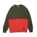 크룩스앤캐슬(CROOKS & CASTLES) Knit Crew Sweatshirt - Capitol (Rifle Green/Tr Red)