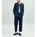 Stripe two tuck pants [black]