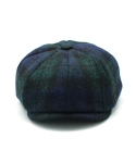 CLOMOR HARRIS TWEED NEWS BOY CAP BLACK WATCH