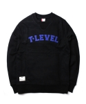 티레벨(T-LEVEL) Arch Logo Cotton Sweat Black/Blue