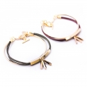 마이믹스드디자인(MY MIXED DESIGN) Simple gold metal tassel leather bracelet