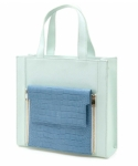 미미마끄(MIMIMAC) PIXI_Square Bag_Mint (Blue & Dazzling blue)