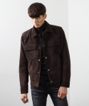 더 스트라이프(THE STRIFE) REAL LEATHER SUEDE TRUCKER JACKET DARK BROWN T1601VR02DB