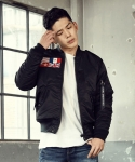 엑스톤즈() [XTONZ] UNISEX NORMANDY MA-1 FLIGHT JACKET (BLACK)