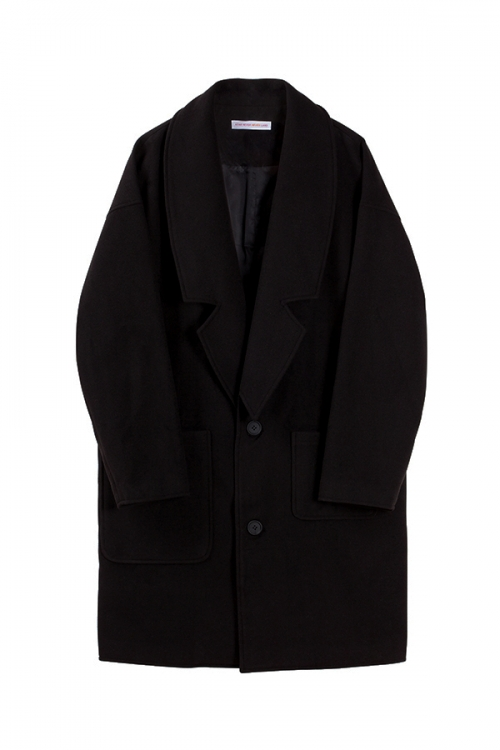 아타르_[아타르]Big pocket wool coat black
