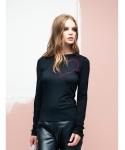 SIMPLE HEART SKINNY TOP _ BLACK / WINE