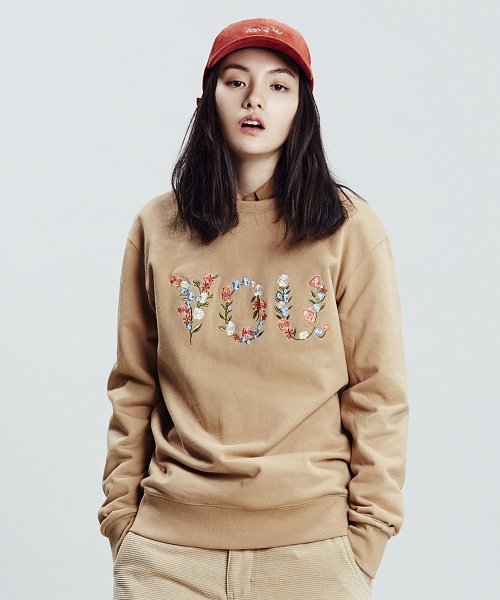 클리프웨어_YOU ARE FLOWER SWEATSHIRTS (BEIGE)