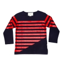 에이치이(HE) Half Stripe Long Sleeve Navy