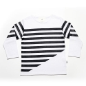 Half Stripe Long Sleeve White