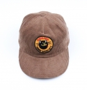 black cat corduroy brown leather strapback
