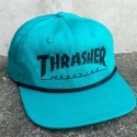 쓰레셔(THRASHER) ROPE SNAPBACK (TEAL/BLACK)
