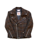 HARRIS TWEED RIDER JACKET CHECKBROWN