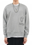 HATER EMBROIDERED PATCH SWEATSHIRT GREY