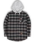 언더에어(UNDERAIR) Flannel Hoodie Shrits - Black/Grey - Gray