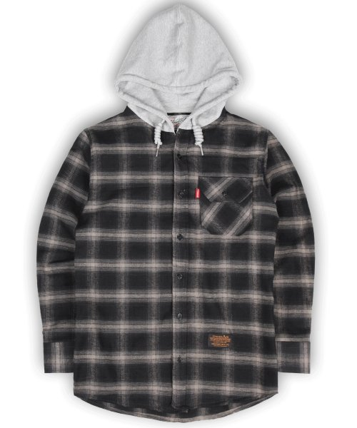 Flannel Hoodie Shrits - Black/Grey - Gray