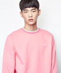 SHUTTER NECK STRIPE SWEAT SHIRTS (PINK)
