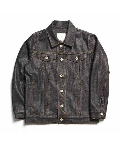 제로_13.5oz Coated Denim Jacket ″Black″