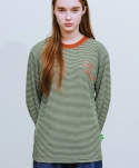 러닝하이(RUNNING HIGH) [UNISEX] R STRIPE LONG SLEEVE CUT&SEWN [GREEN]