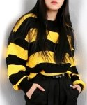 베이직코튼(BASIC COTTON) basic stripe knit - black&yellow