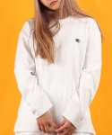 베이직코튼(BASIC COTTON) color logo long top - white