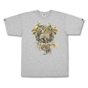 크룩스앤캐슬(CROOKS & CASTLES) Mens Knit Crew T-Shirt - Wild Medusa (Heather Grey)
