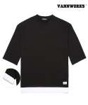밴웍스(VANN WORKS) 밴웍스 DOUBLE LAYERED ROLL UP T-Shirts_BLACK(V16TS121)
