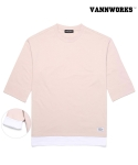 밴웍스(VANN WORKS) 밴웍스 DOUBLE LAYERED ROLL UP T-Shirts_PINK(V16TS121)