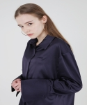WIDE CUFFS SILK SHIRT - NAVY