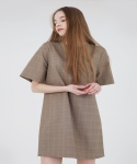 BACK POINT BOX DRESS - BROWN CHECK