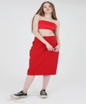 CUT-OUT CREPE HLINE SKIRT - RED