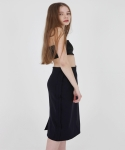 CUT-OUT CREPE HLINE SKIRT - NAVY