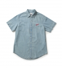 브라운브레스(BROWNBREATH) 16 BARS DENIM HALF SHIRTS BLUE
