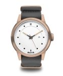 Meverick Rose Gold White - Grey Leather Nato
