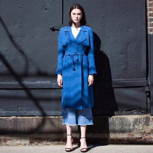 룩캐스트_LOOKAST BLUE LINEN SOFT TRENCH COAT