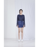 메리먼트(MERRIMENT) DOUBLE BUTTONHOLE SKIRT (NAVY)