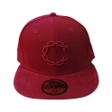 크룩스앤캐슬(CROOKS & CASTLES) CROOKS & CASTLES Mens Woven Fitted Cap - Chain C Cord BURGUNDY