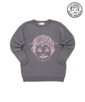 어썸 이미지네이션(AWESOME IMAGINATION) A BOY LOOSE-FIT KNIT T-SHIRTS Gray [WOMAN]